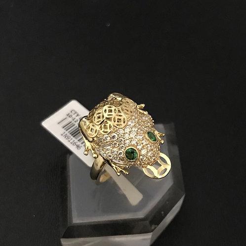 Nhẫn nữ cóc vàng đá xanh lá cây VJC 610
