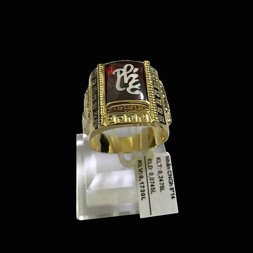 Nhẫn nam chữ Phúc vàng đá đỏ VJC 610