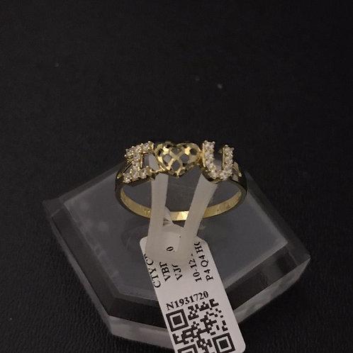 Nhẫn vàng I Love You đá trắng VJC 610