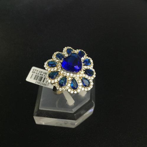 Nhẫn hoa vàng đá Xanh nước biển VJC 610