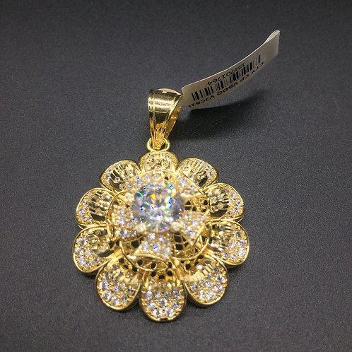 Mặt dây chuyền vàng hoa nữ đá trắng VJC 610