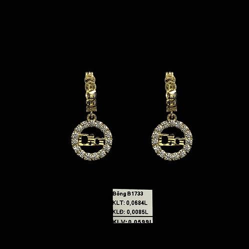 Bông tai Dior vàng tòng teng đá trắng VJC 610