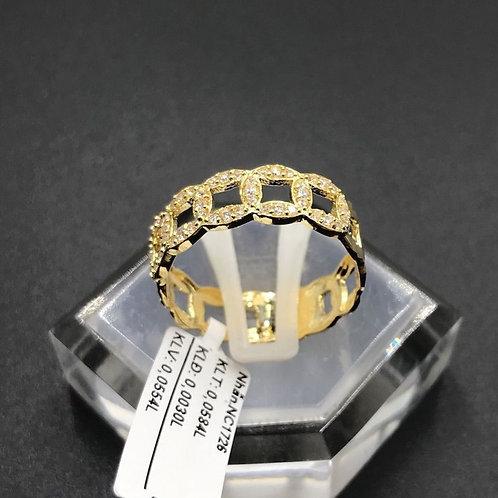 Nhẫn nữ kim tiền vàng đá trắng