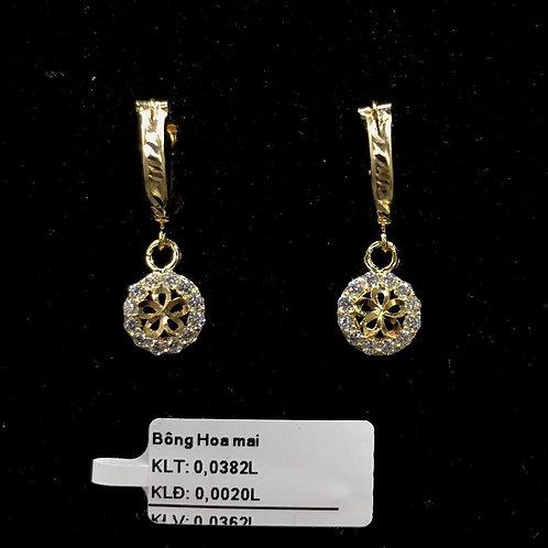 Bông tai hoa mai vàng đá trắng VJC 610