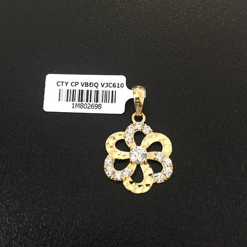 Mặt dây chuyền vàng nữ bông hoa đá trắng VJC 610