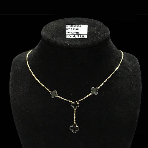 Dây chuyền hoa vàng đá đen VJC 610