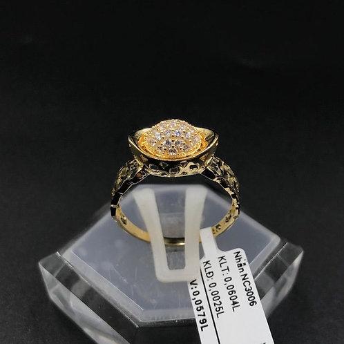 Nhẫn nữ thỏi vàng đá trắng