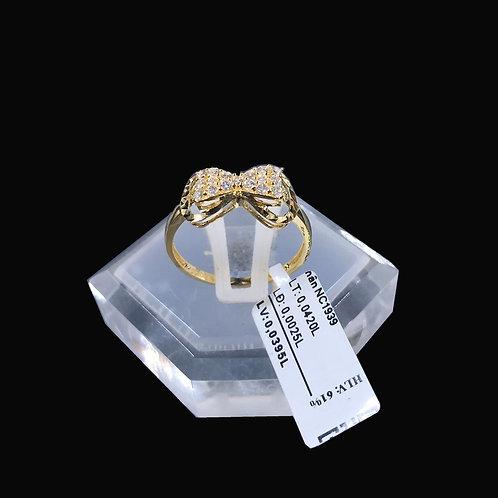 Nhẫn nữ nơ vàng đá trắng VJC 610