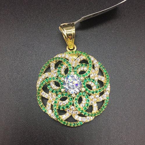 Mặt dây chuyền vàng nữ đá tấm xanh VJC 610