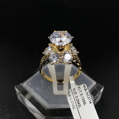 Nhẫn nữ hoa vàng đá trắng