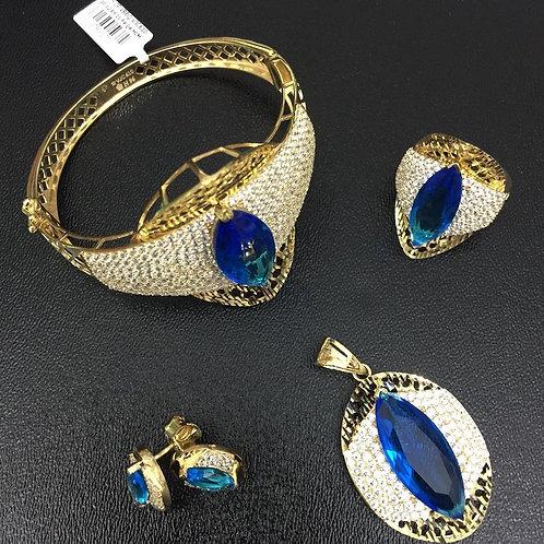Bộ Trang sức Vàng đá màu xanh nước biển VJC 610