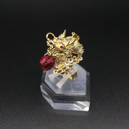 Nhẫn vàng nữ đầu rồng đá đỏ VJC 610