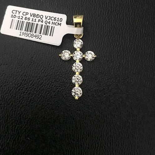 Mặt dây Thánh giá vàng đá trắng VJC 610