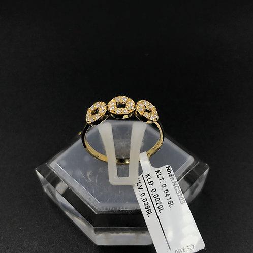 Nhẫn ba đồng tiền vàng đá trắng VJC 610