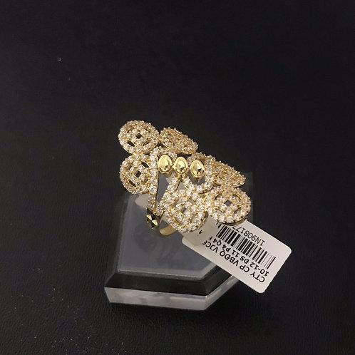 Nhẫn vàng nữ đồng tiền đá tấm trắng VJC 610