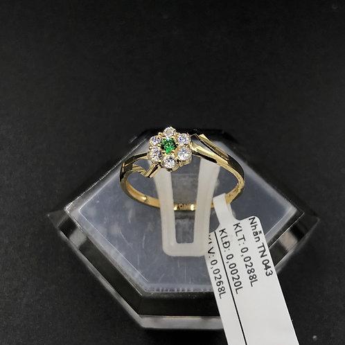Nhẫn nữ hoa vàng đá xanh lá cây