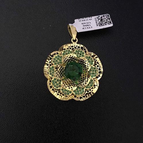 Mặt dây hoa vàng đá Xanh lá cây VJC 610