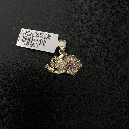 Mặt dây chuyền thỏ vàng đá đỏ VJC 610