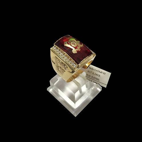 Nhẫn nam chữ Lộc vàng đá đỏ VJC 610