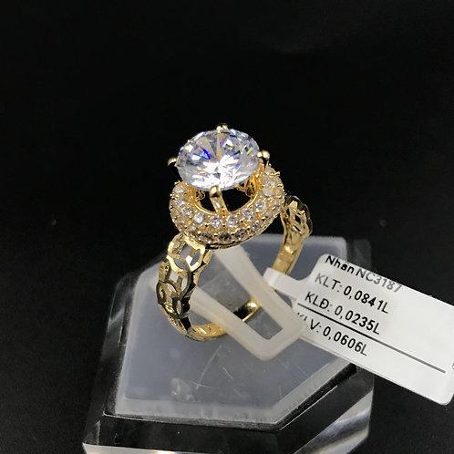 Nhẫn nữ đồng tiền vàng đá trắng