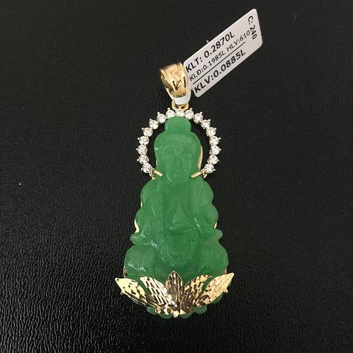 Mặt dây chuyền vàng đá cẩm thạch tượng Phật VJC 610