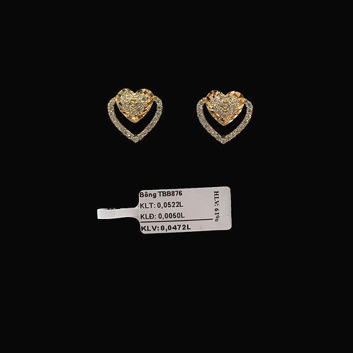 Bông tai tim vàng đá trắng VJC 610