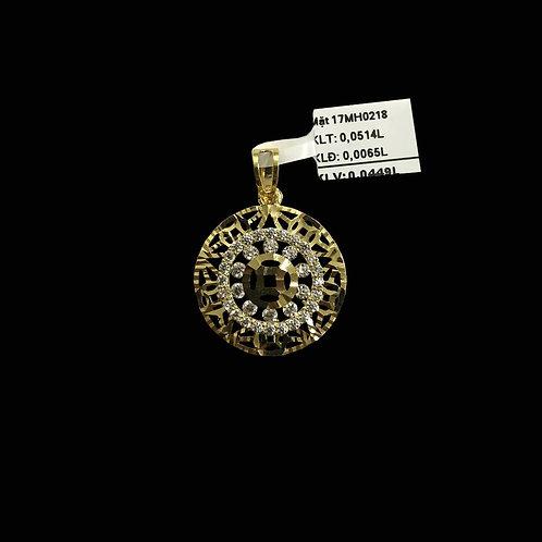 Mặt dây kim tiền vàng đá trắng VJC 610