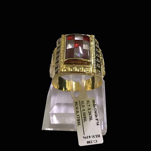 Nhẫn nam vàng đá đỏ VJC 610