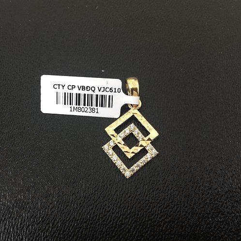 Mặt dây chuyền vàng nữ hai hình vuông VJC 610