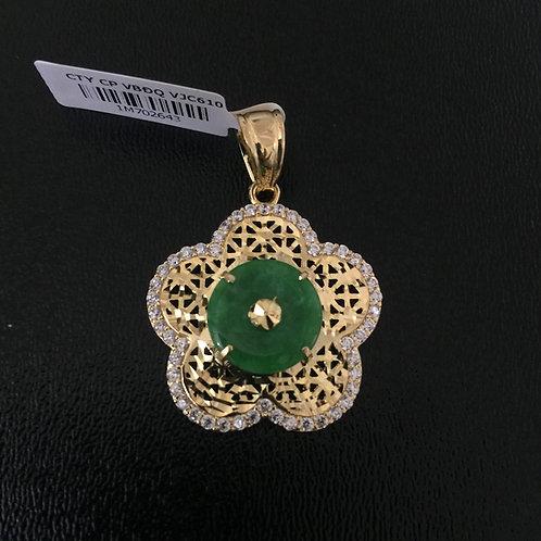 Mặt dây chuyền vàng hoa đá cẩm thạch VJC 610