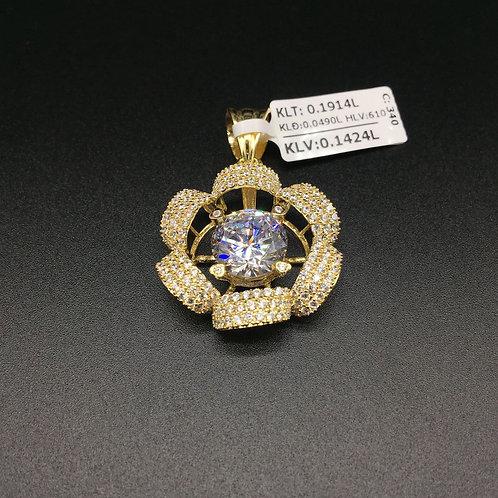 Mặt dây chuyền vàng nữ đá trắng bông hoa VJC 610