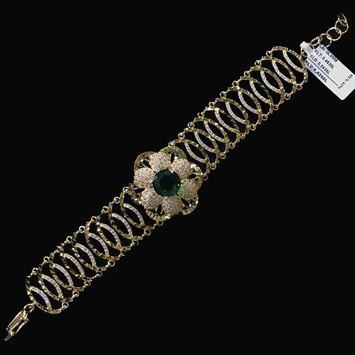 Lắc tay vàng đá xanh lá cây VJC 610