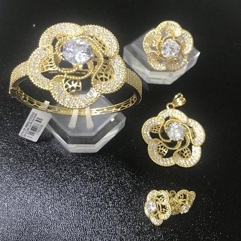 Bộ Trang sức Vàng hoa đá trắng VJC 610