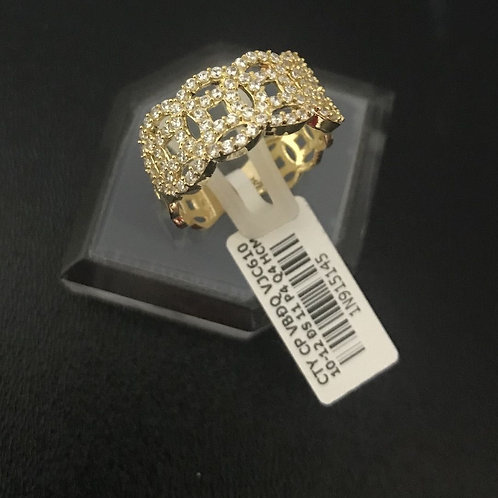 Nhẫn nữ đồng tiền vàng đá tấm trắng VJC 610