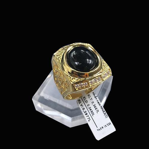 Nhẫn nam chữ Phước vàng đá đen VJC 610