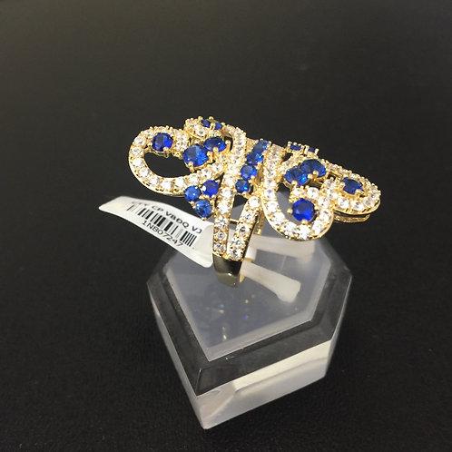 Nhẫn vàng nữ đá tấm xanh nước biển VJC 610