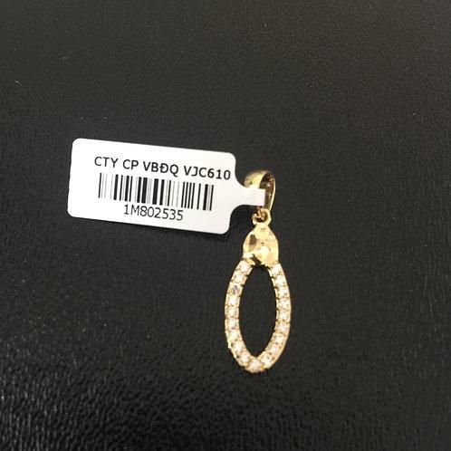 Mặt dây chuyền vàng nữ oval đá trắng VJC 610