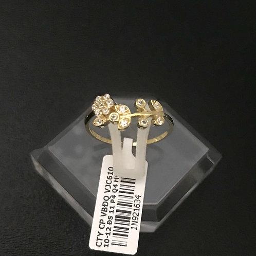 Nhẫn nữ hoa lá vàng đá trắng VJC 610