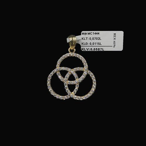 Mặt dây ba vòng tròn vàng đá trắng VJC 610