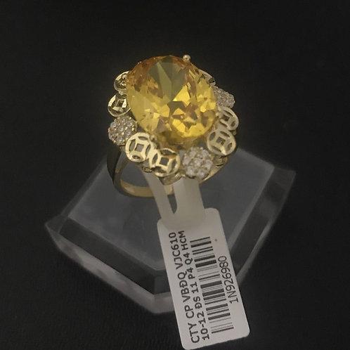 Nhẫn nữ đồng tiền vàng đá vàng VJC 610