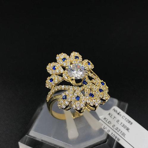 Nhẫn nữ hoa vàng đá Xanh biển