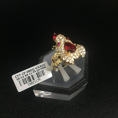 Nhẫn nữ cóc vàng thiềm thừ đá đỏ VJC 610