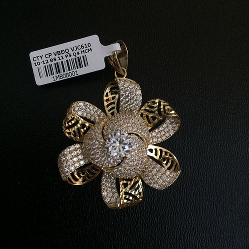 Mặt dây chuyền vàng hoa đá trắng VJC 610