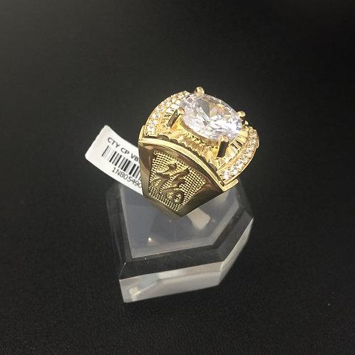 Nhẫn vàng nam chữ Phúc đá trắng VJC 610