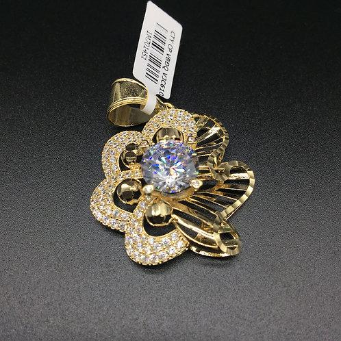 Mặt dây chuyền vàng nữ đá trắng đoá hoa VJC 610