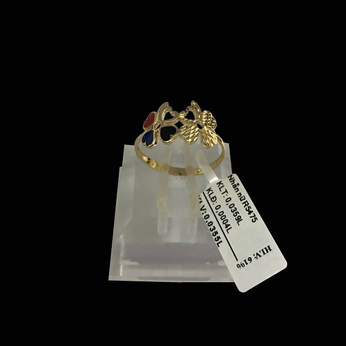 Nhẫn lá vàng đá nhiều màu VJC 610