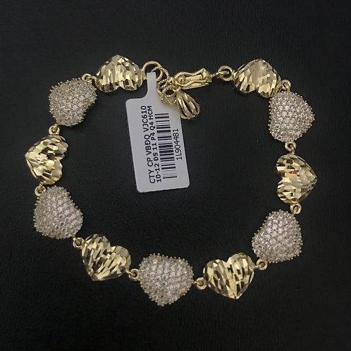 Lắc tay nữ trái tim vàng đá trắng VJC 610