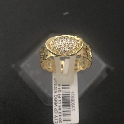 Nhẫn đồng tiền thỏi vàng đá trắng VJC 610