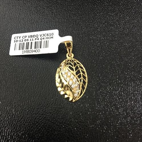 Mặt dây lá vàng đá trắng VJC 610