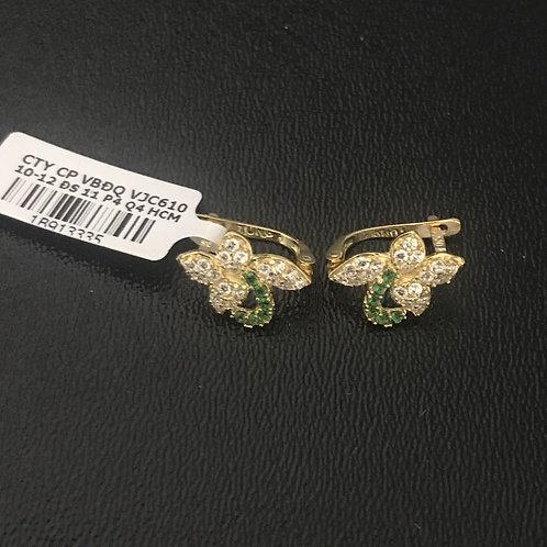 Bông tai vàng đá xanh lá cây - VJC 610